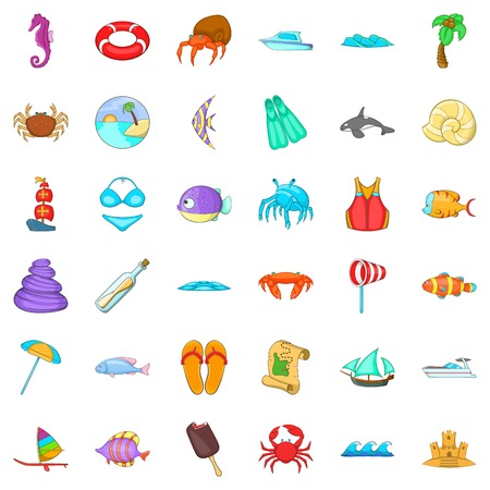 Beach relaxation icons set. Cartoon style of 36 beach relaxation vector icons for web isolated on white background