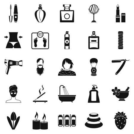Set di icone di cosmetologia, stile semplice Archivio Fotografico - 83159921