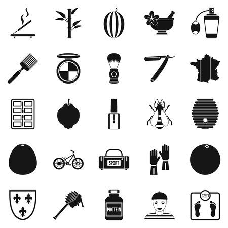 Set di icone di profumo, stile semplice