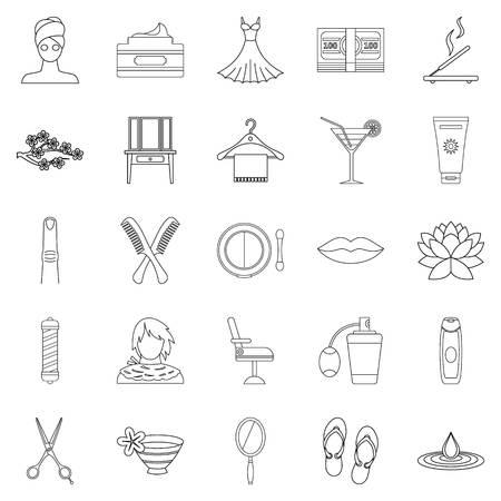 barbershop: Barbershop icons set, outline style