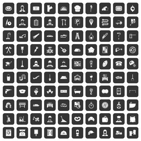 stove pipe: 100 working professions icons set black