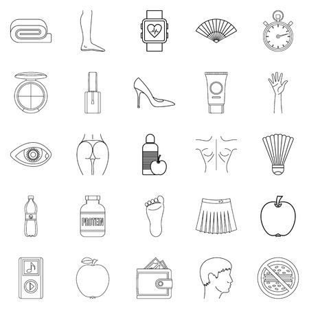 barbershop: Beautiful body icons set, outline style