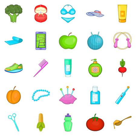 cleansing: Good product icons set, cartoon style