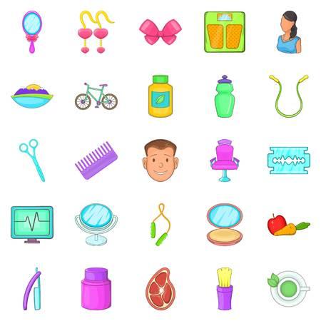 Beauty saloon icons set, cartoon style Illustration