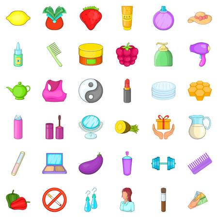 Cosmetic product icons set, cartoon style