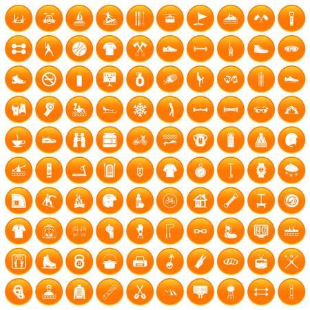 100 sport life icons set orange