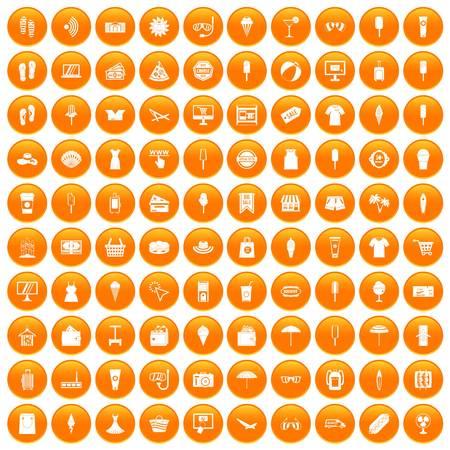 100 summer shopping icons set orange Ilustração