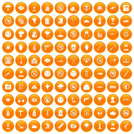 100 tension icons set in orange circle isolated vector illustration