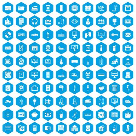 100 appliances icons set in blue hexagon isolated vector illustration Illustration