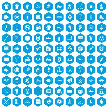 100 die atletenpictogrammen in blauwe zeshoek geïsoleerde vectorillustratie worden geplaatst
