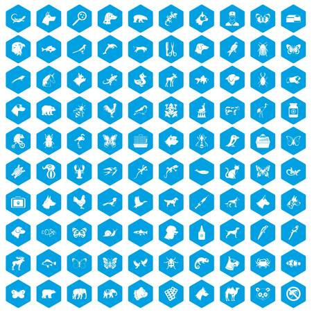 ladybird: 100 animals icons set blue