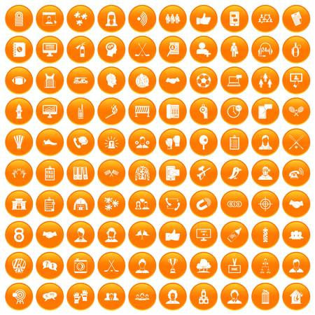 100 team icons set orange