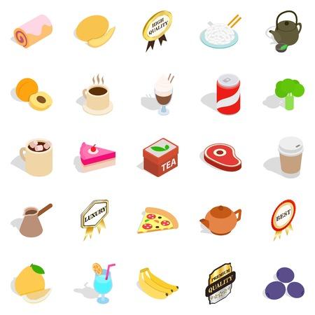 can food: Beverage icons set, isometric style Illustration