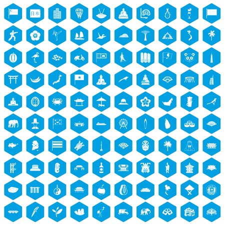 100 asian icons set in blue hexagon isolated vector illustration Illustration