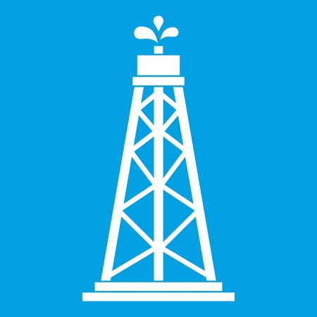 drill: Oil rig icon white isolated on blue background vector illustration
