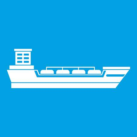 sea tanker ship: Oil tanker ship icon white isolated on blue background vector illustration