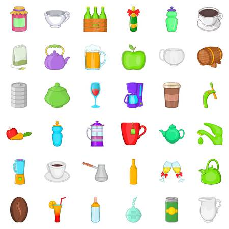 Food and drink icons set. Cartoon style of 36 food and drink vector icons for web isolated on white background Illustration