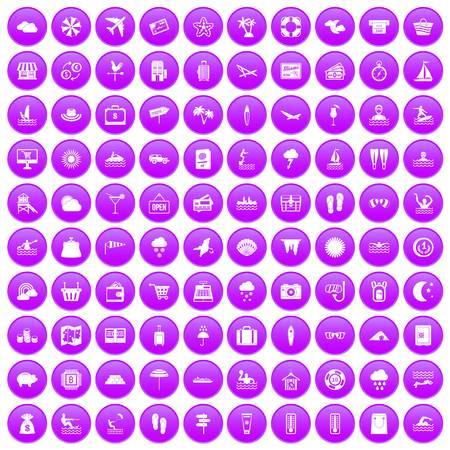 100 icônes de la station balnéaire en cercle violet isolé sur blanc vector illustration Banque d'images - 83142659