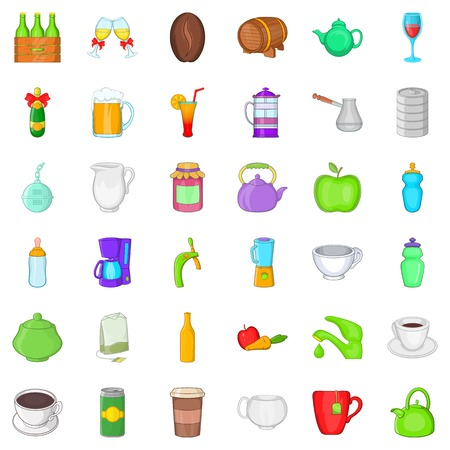 Fruit and drink icons set. Cartoon style of 36 fruit and drink vector icons for web isolated on white background