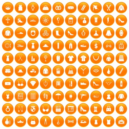 100 womens accessories icons set in orange circle isolated vector illustration Illustration
