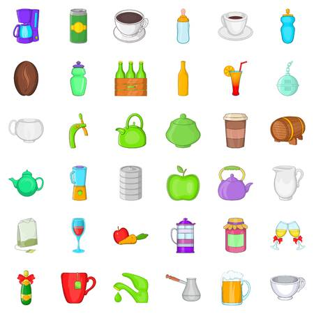 Different drinks icons set, cartoon style