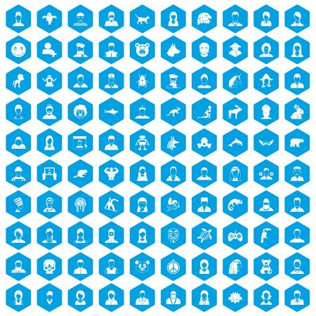 100 avatar icons set blue Vector illustration.