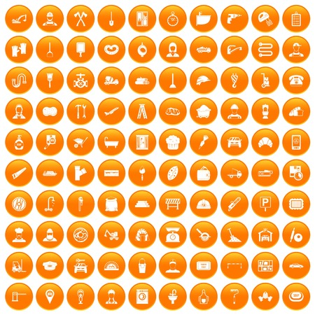 100 working professions icons set orange