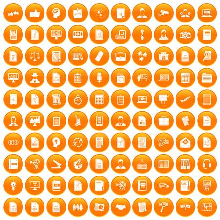 100 work paper icons set orange