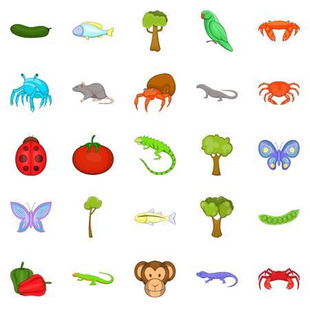 crustaceans: Crustaceans icons set, cartoon style