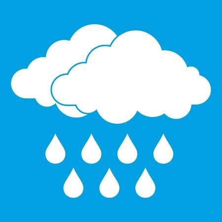 Cloud icon white. Vector illustration.