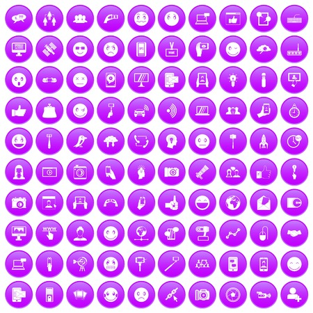 100 social media icons set in purple circle isolated on white vector illustration
