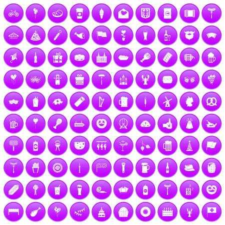 bbq barrel: 100 beer party icons set in purple circle isolated vector illustration