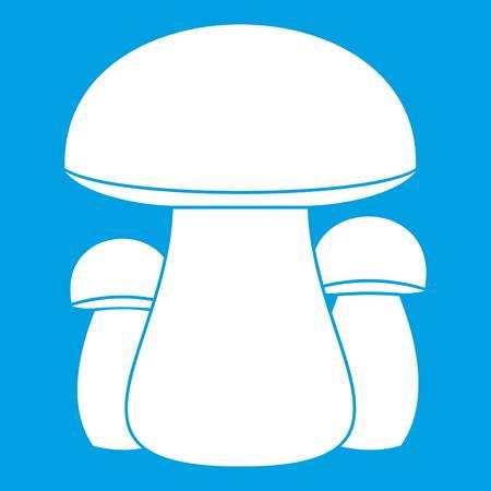 Blanco del icono de seta aislado en ilustración de vector de fondo azul