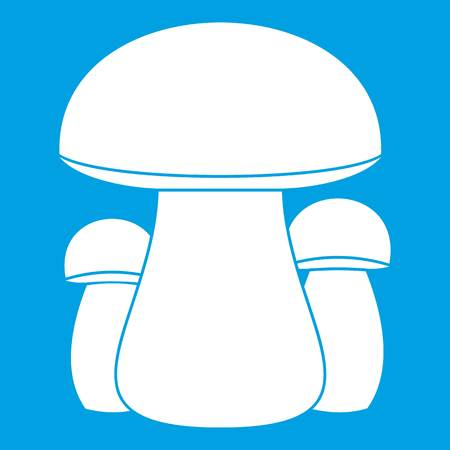 Mushroom icon white isolated on blue background vector illustration