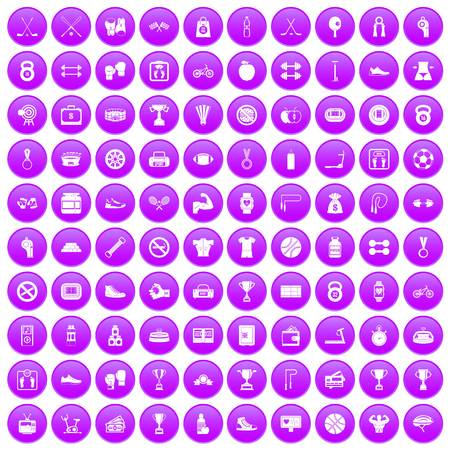 palpitation: 100 boxing icons set in purple circle isolated vector illustration