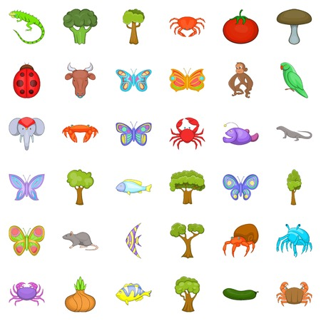 primate biology: Biology icons set. Cartoon style of 36 biology vector icons for web isolated on white background
