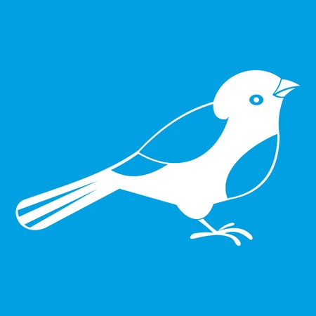 Bird icon white isolated on blue background vector illustration