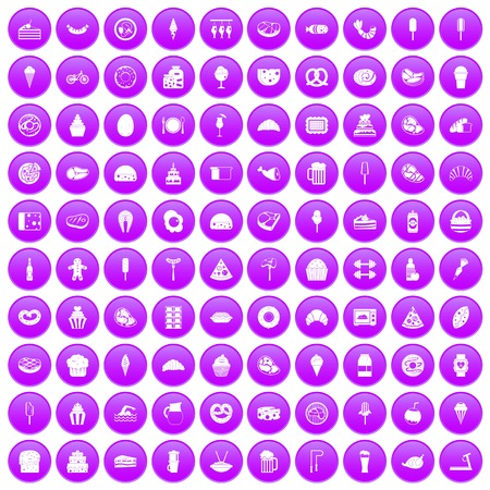 100 calories icons set in purple circle isolated vector illustration