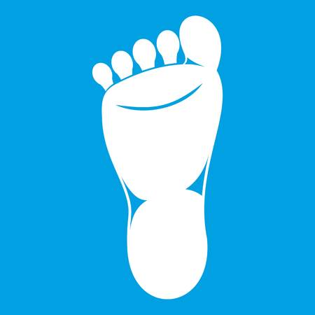 Foot left leg icon white isolated on blue background vector illustration