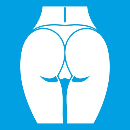 Buttocks of girl icon white isolated on blue background vector illustration Illustration