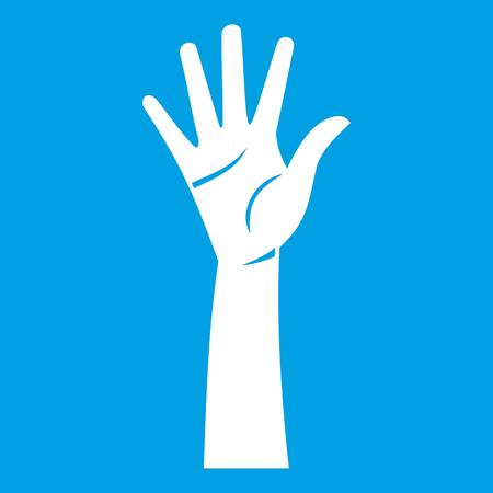 Hand icon white isolated on blue vector illustration Illustration