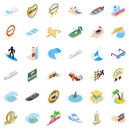 water bus: Boat vessel icons set. Isometric style of 36 boat vessel vector icons for web isolated on white background