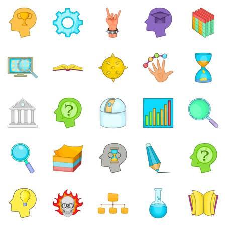 Brilliant idea icons set, cartoon style