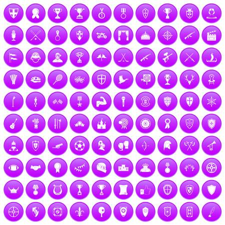 100 trophy and awards icons set in purple circle isolated on white vector illustration Illustration