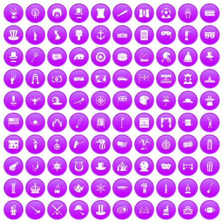 top gun: 100 top hat icons set in purple circle isolated on white vector illustration
