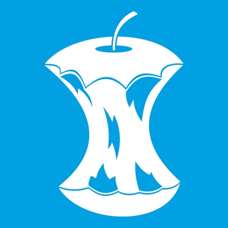 Apple core icon white isolated on blue background vector illustration