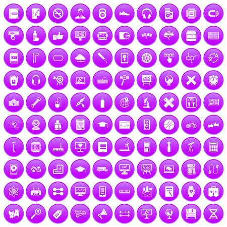bar magnet: 100 training icons set in purple circle isolated on white vector illustration