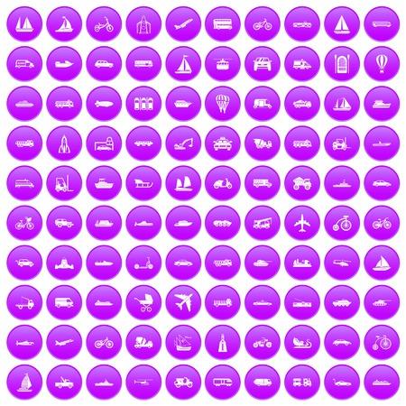 100 transportation icons set purple Иллюстрация