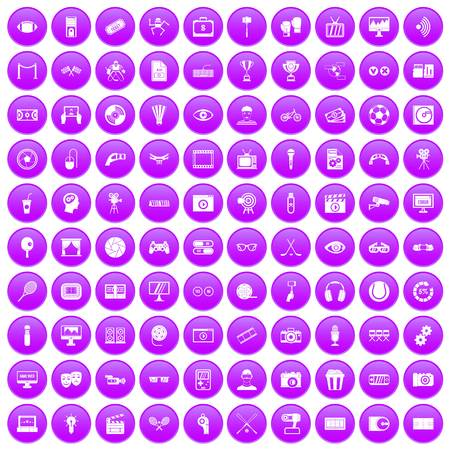 sharpness: 100 video icons set in purple circle isolated on white vector illustration Illustration