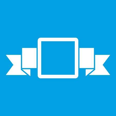 Het kleine witte die pictogram van het bannerpictogram op blauwe vectorillustratie wordt geïsoleerd als achtergrond